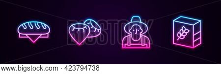 Set Line Bread Loaf, Seed, Farmer In The Hat And Flour Pack. Glowing Neon Icon. Vector
