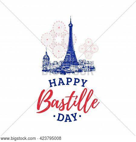 Bastille Day Lettering On Eiffel Tower Background.