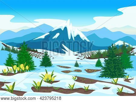 Spring Landscape With Mountains, Forest, Glades, Melting Snow And Yellow Crocuses. Beautiful Spring