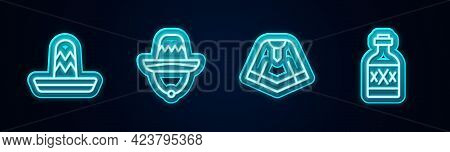 Set Line Mexican Sombrero, , Poncho And Tequila Bottle. Glowing Neon Icon. Vector