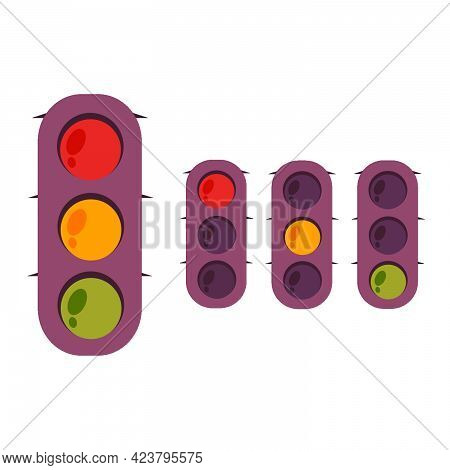 Illustration Of A Traffic Light. Traffic Laws. Switching Traffic Lights. Red, Yellow, Green.