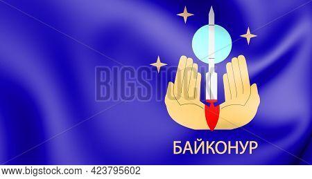 3d Flag Of Baikonur, Kazakhstan. 3d Illustration.