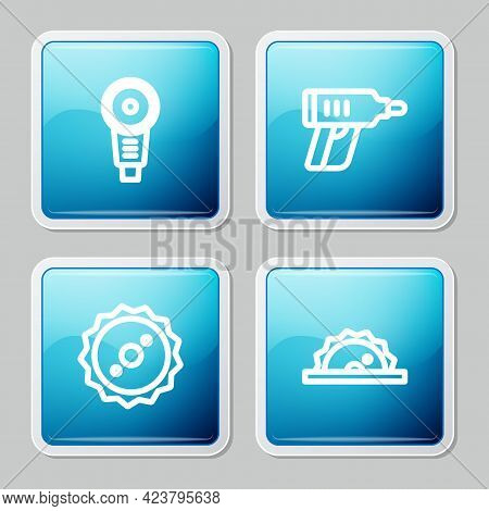 Set Line Angle Grinder, Electric Cordless Screwdriver, Circular Saw Blade And Circular Icon. Vector