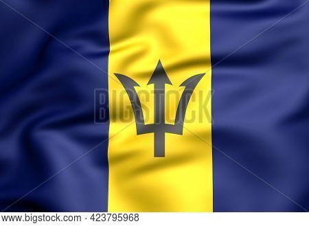 3d Flag Of The Barbados. 3d Illustration.