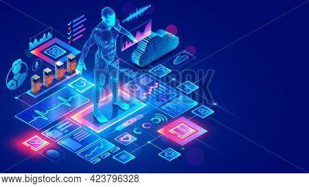Medicine Internet Service. Doctor Online Diagnosing Patient Through Digital Telemedicine Platform In