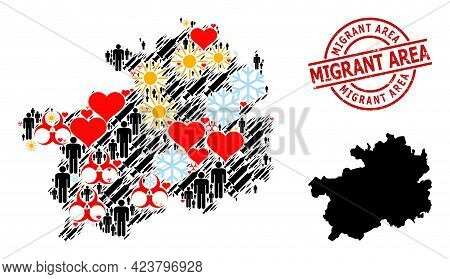 Rubber Migrant Area Stamp, And Winter Humans Syringe Collage Map Of Guizhou Province. Red Round Stam