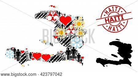 Textured Haiti Stamp Seal, And Sunny Patients Virus Therapy Mosaic Map Of Haiti. Red Round Stamp Con
