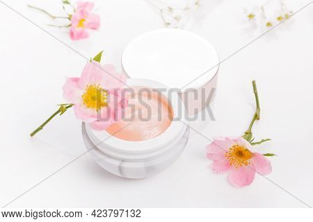 Wild Rose Dermatology Cosmetic Hygienic Cream Skincare Product In Jar On White Background