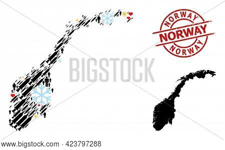 Scratched Norway Stamp Seal, And Lovely Humans Covid-2019 Treatment Collage Map Of Norway. Red Round