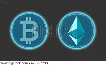 Ethereum Cryptocurrency And Bitcoin In Blue On A Gray Background. Digital Currency Symbols. Global B