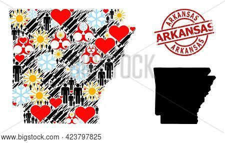 Rubber Arkansas Badge, And Spring People Vaccine Collage Map Of Arkansas State. Red Round Badge Cont