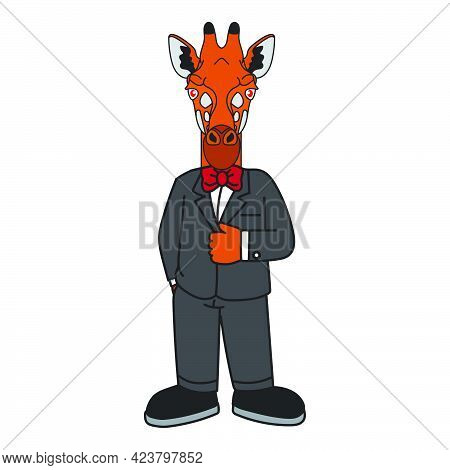 Mascot Logo Cartoon Giraffe Character Wearing A Tuxedo Or Suit Suitable For Business