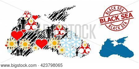 Grunge Black Sea Seal, And Heart Patients Syringe Mosaic Map Of Black Sea. Red Round Stamp Has Black