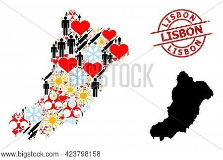 Distress Lisbon Seal, And Winter Demographics Syringe Collage Map Of La Graciosa Island. Red Round S