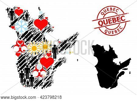 Scratched Quebec Stamp Seal, And Heart Men Covid-2019 Treatment Mosaic Map Of Quebec Province. Red R
