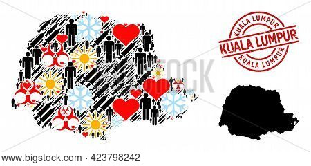 Textured Kuala Lumpur Stamp, And Sunny People Infection Treatment Collage Map Of Parana State. Red R