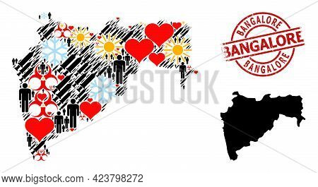 Scratched Bangalore Stamp Seal, And Winter Patients Inoculation Collage Map Of Maharashtra State. Re