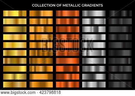 Big Metal Gradients Pack. Gold, Bronze, Silver And Black Texture Gradation Background Set. Vector Me