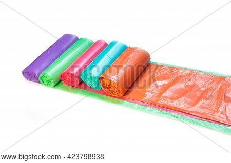 Plastic Garbage Bags Of Different Colors Purple Blue Res Orange Green On White Background
