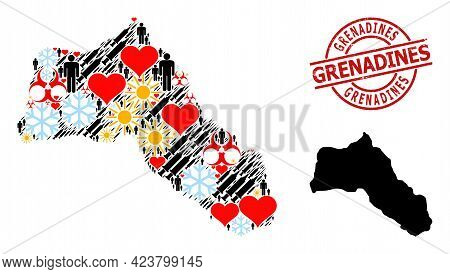 Scratched Grenadines Badge, And Heart People Vaccine Collage Map Of Kurdistan. Red Round Badge Conta