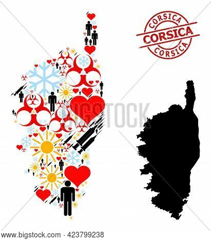 Textured Corsica Badge, And Sunny Men Covid-2019 Treatment Collage Map Of Corsica. Red Round Badge C
