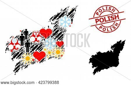 Textured Polish Seal, And Lovely Demographics Covid-2019 Treatment Mosaic Map Of La Coruna Province.