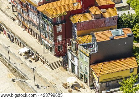 Old Colorful Houses On The Embankment Of Porto, Portugal