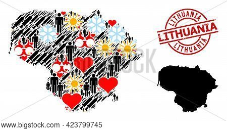 Distress Lithuania Seal, And Sunny Man Inoculation Collage Map Of Lithuania. Red Round Seal Includes