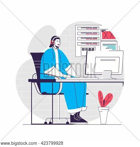 Support Center Web Concept. Woman Works On Hotline, Helpline, Tech Support. Call Center People Scene
