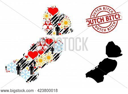 Textured Dutch Bitch Stamp, And Heart Humans Syringe Collage Map Of Flevoland Province. Red Round St
