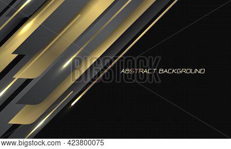Abstract Gold Grey Metallic Line Geometric Slash On Black With Blank Space Design Modern Luxury Futu