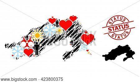Textured Status Stamp, And Frost Men Virus Therapy Mosaic Map Of Arunachal Pradesh State. Red Round