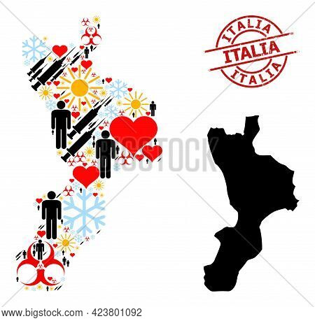 Textured Italia Badge, And Winter Population Covid-2019 Treatment Mosaic Map Of Calabria Region. Red