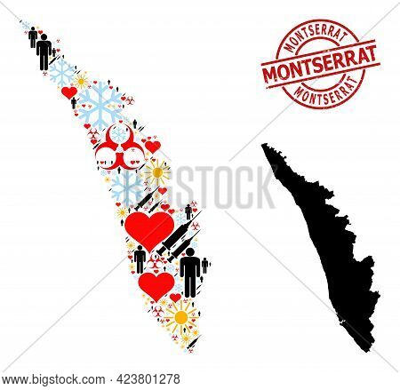 Rubber Montserrat Stamp Seal, And Sunny Man Inoculation Collage Map Of Kerala State. Red Round Stamp