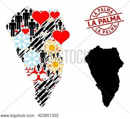 Textured La Palma Stamp, And Spring Humans Covid-2019 Treatment Mosaic Map Of La Palma Island. Red R