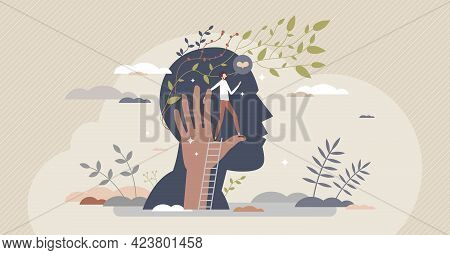 Mental Boost And Self Push As Motivation Mind Power Tiny Person Concept. Increase Brain Efficiency A