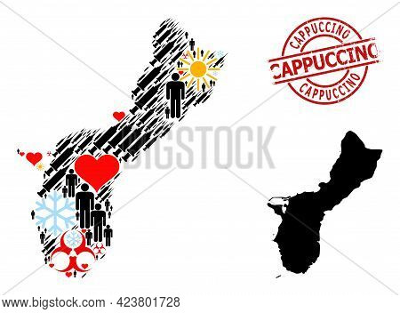 Scratched Cappuccino Seal, And Winter Demographics Syringe Collage Map Of Guam Island. Red Round Sta