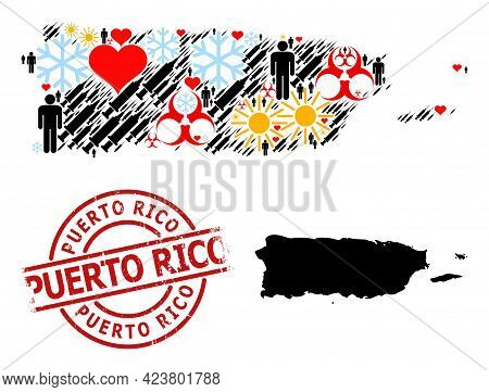 Textured Puerto Rico Stamp Seal, And Spring Man Vaccine Collage Map Of Puerto Rico. Red Round Stamp
