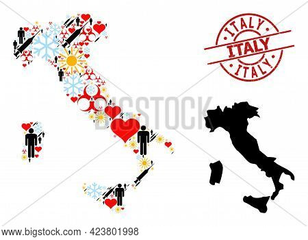 Scratched Italy Stamp, And Lovely Men Syringe Mosaic Map Of Italy. Red Round Stamp Has Italy Title I