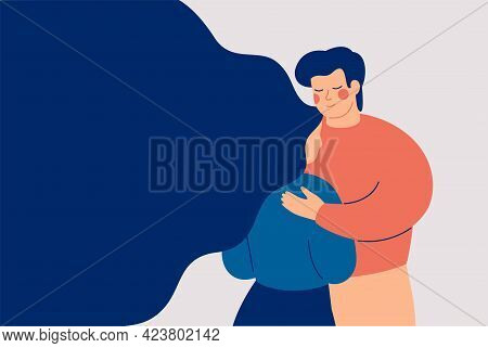Father Supports Her Daughter In A Difficult Time. Man Gives Empathy For Her Sad Friend. Boyfriend Ca