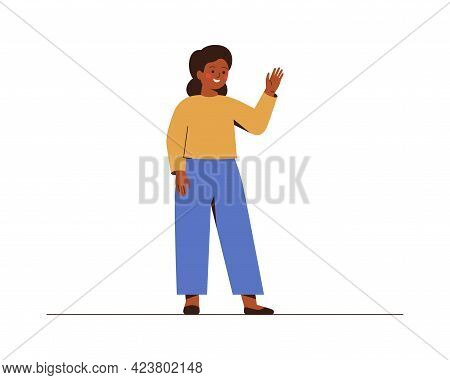African American School Girl Waves A Hand And Saying Hello Or Bye To Somebody. Smiling Female Teenag