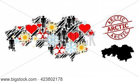 Grunge Arctic Stamp Seal, And Heart Humans Inoculation Mosaic Map Of North Brabant Province. Red Rou