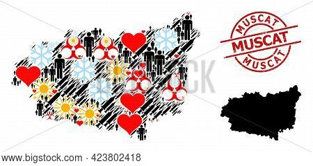 Rubber Muscat Seal, And Heart Patients Inoculation Mosaic Map Of Leon Province. Red Round Seal Inclu
