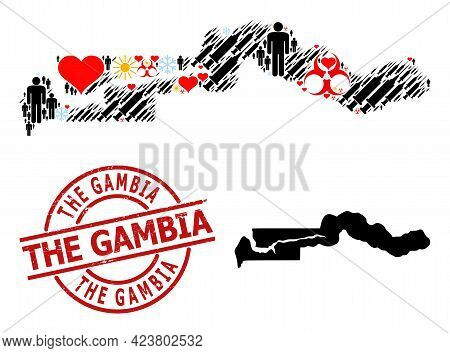 Grunge The Gambia Stamp Seal, And Spring Men Infection Treatment Collage Map Of The Gambia. Red Roun