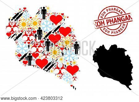 Scratched Koh Phangan Stamp, And Heart Population Inoculation Collage Map Of Koh Phangan. Red Round