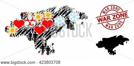 Grunge War Zone Stamp Seal, And Heart Patients Virus Therapy Mosaic Map Of Cantabria Province. Red R