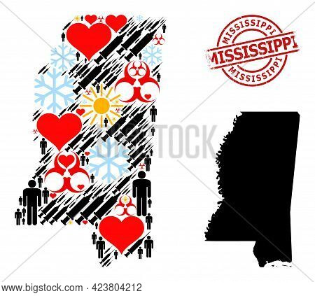 Textured Mississippi Seal, And Frost Men Inoculation Collage Map Of Mississippi State. Red Round Sea