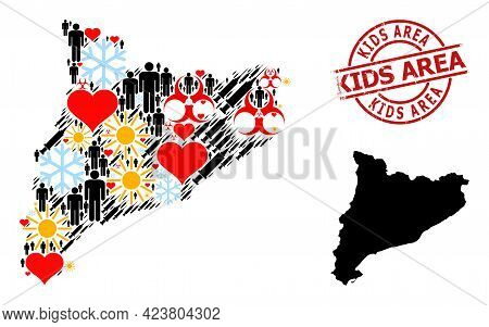 Rubber Kids Area Stamp Seal, And Frost People Syringe Collage Map Of Catalonia. Red Round Seal Has K