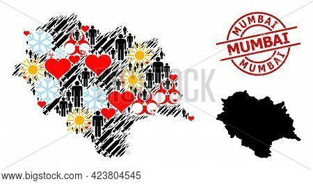 Rubber Mumbai Stamp Seal, And Frost Men Inoculation Collage Map Of Himachal Pradesh State. Red Round