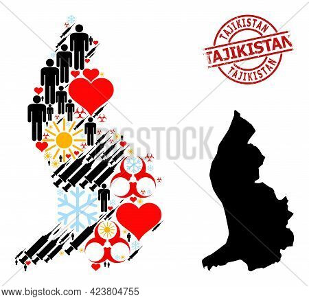 Distress Tajikistan Stamp Seal, And Spring Man Vaccine Collage Map Of Liechtenstein. Red Round Stamp